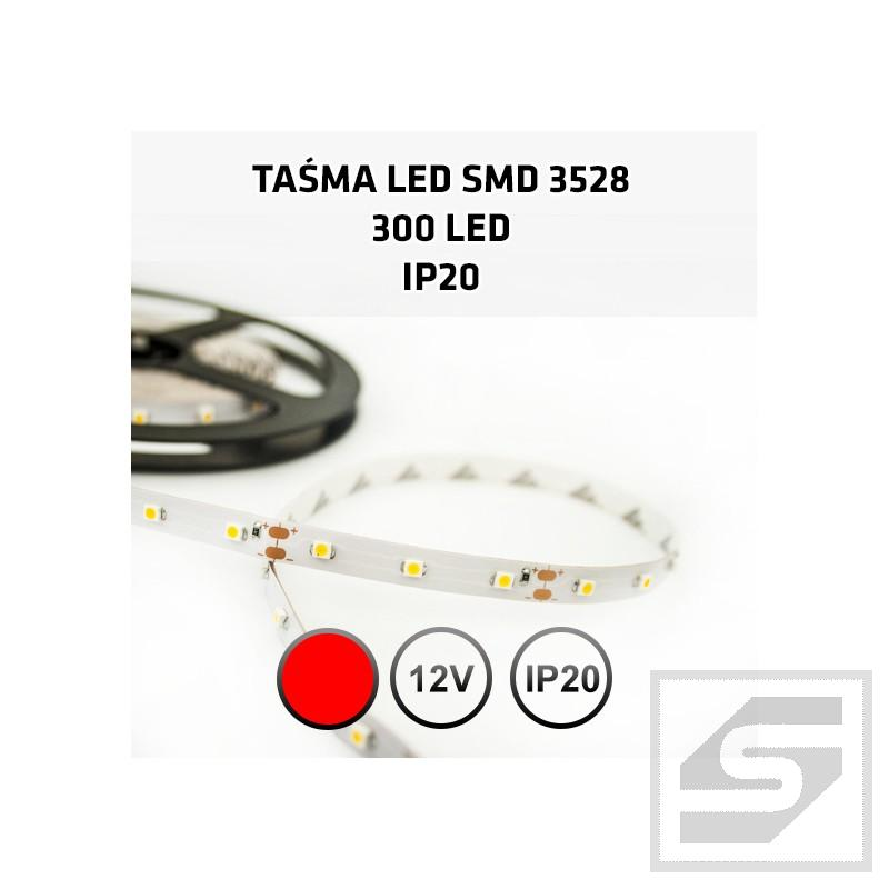 Taśma LED czerwona   300LED/5m 3528 12VDC/IP20 TC-R60-3528-60LED/4.8W/m